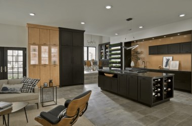 photo of room with light and dark wood surfaces