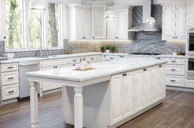 photo of kitchen with white wood surfaces
