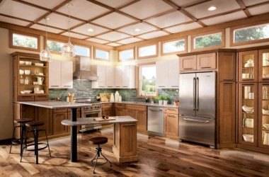 photo of kitchen with lots of wood surfaces